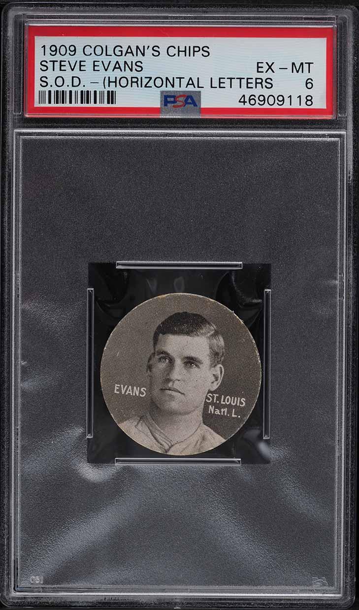 1909 Colgan's Chips Stars Of The Diamond Steve Evans PSA 6 EXMT - Image 1