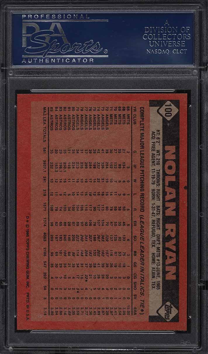 1986 Topps Nolan Ryan #100 PSA 10 GEM MINT - Image 2