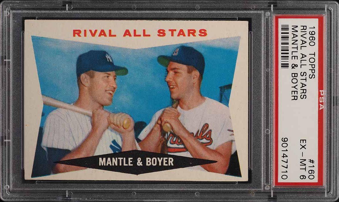1960 Topps Mickey Mantle & Ken Boyer RIVAL ALL-STARS #160 PSA 6 EXMT - Image 1