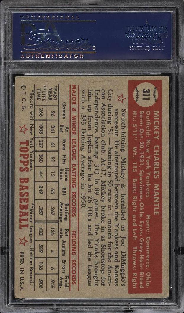 1952 Topps SETBREAK Mickey Mantle #311 PSA 4 VGEX (PWCC) - Image 2