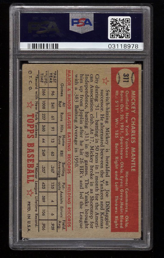 1952 Topps Mickey Mantle #311 PSA 2 GD (PWCC) - Image 2