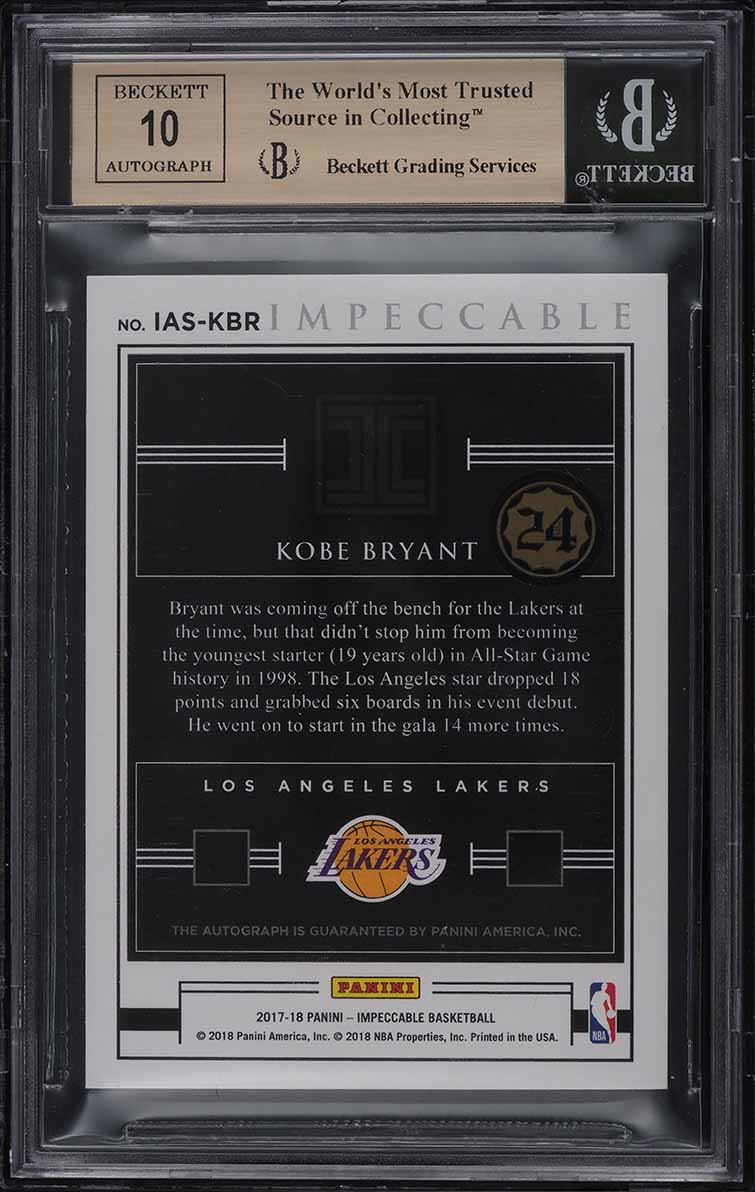 2017 Panini Impeccable All Stars Kobe Bryant AUTO JERSEY NUMBER 8/18 BGS 9.5 GEM - Image 2