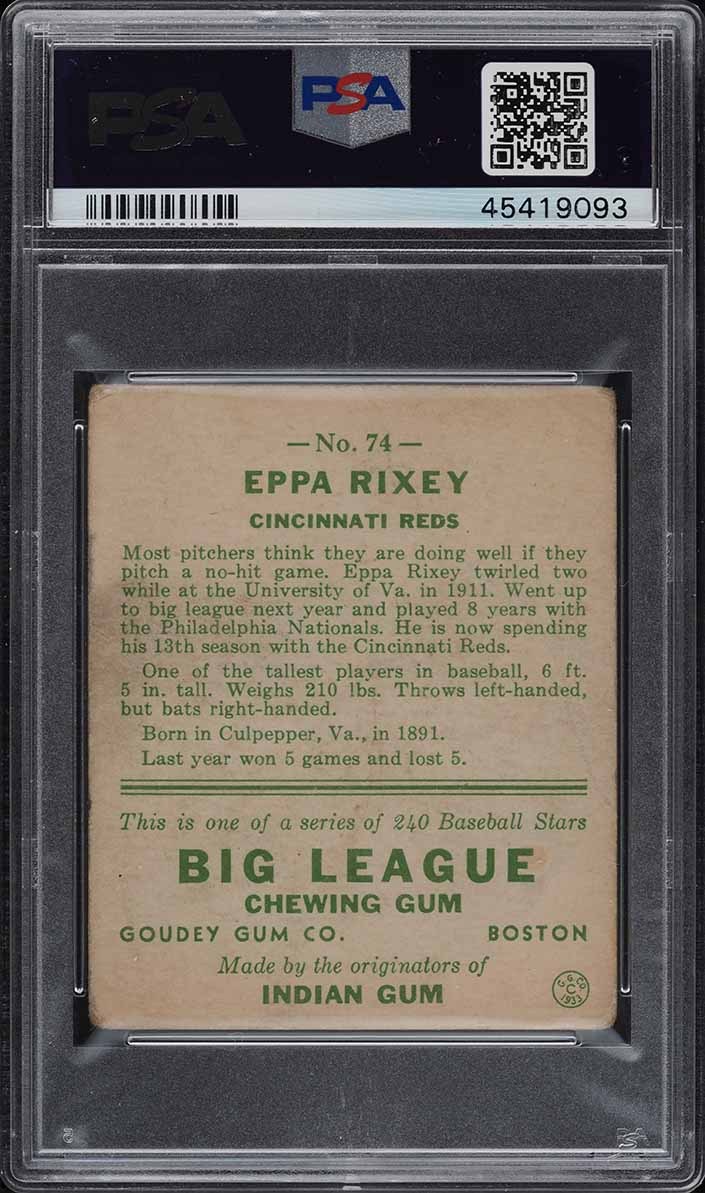 1933 Goudey Eppa Rixey #74 PSA 2 GD (PWCC) - Image 2
