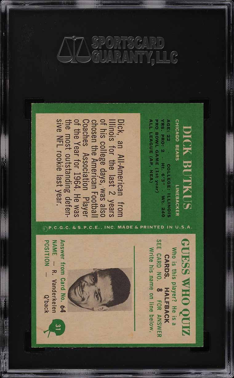 1966 Philadelphia Dick Butkus ROOKIE RC #31 SGC 9 MINT (PWCC) - Image 2