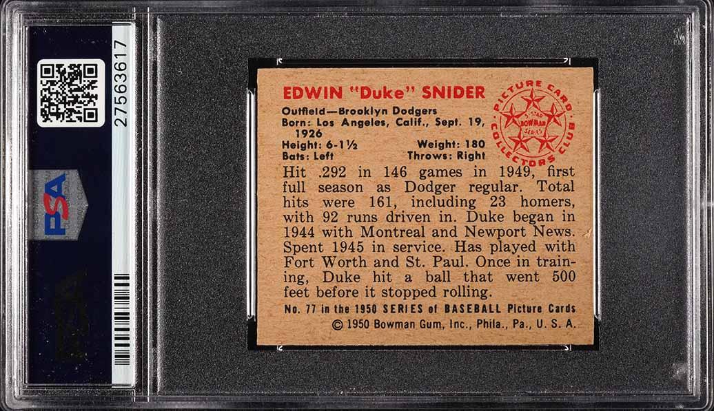 1950 Bowman Duke Snider #77 PSA 7 NRMT (PWCC) - Image 2