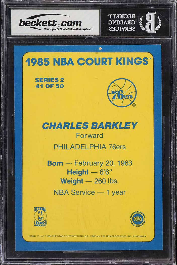 1984-85 Star Court Kings 5X7 Charles Barkley ROOKIE RC #41 BGS 8 NM-MT (PWCC) - Image 2