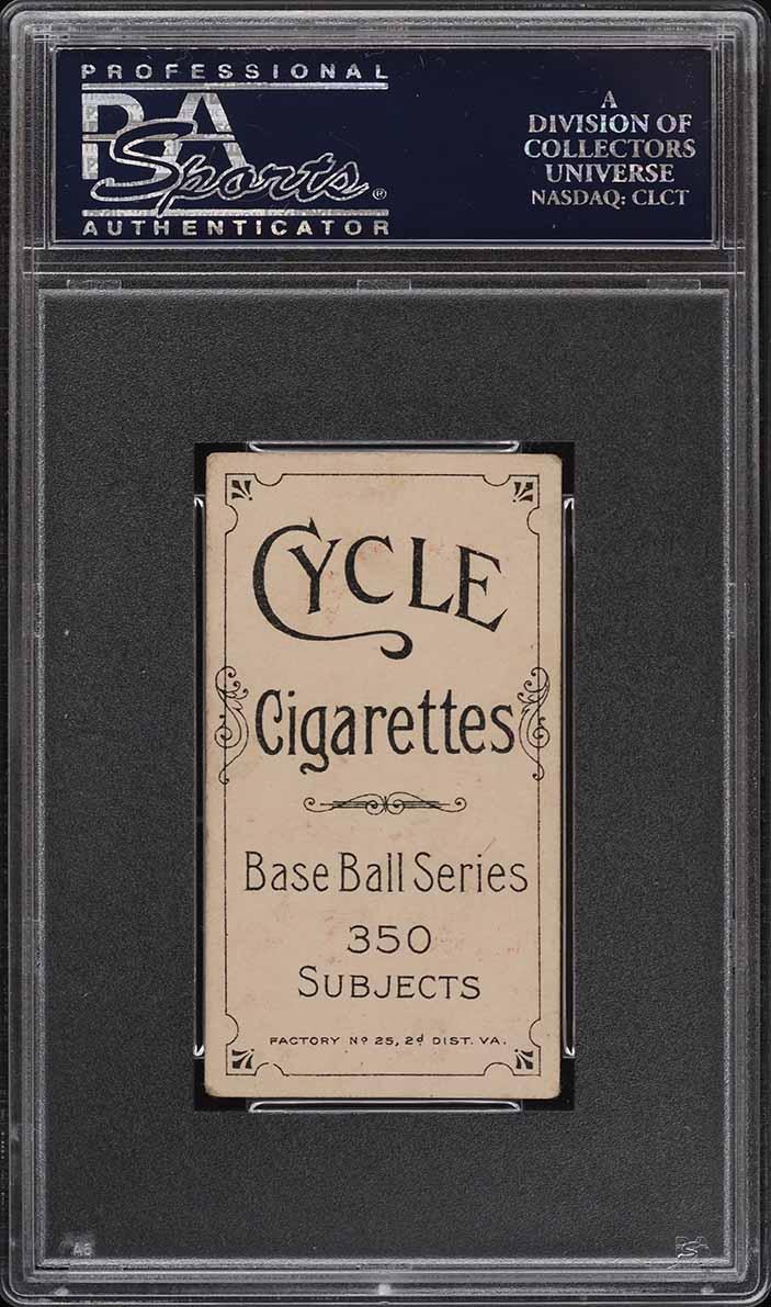 1909-11 T206 SETBREAK Bob Bescher PORTRAIT, CYCLE 350 PSA 4 VGEX (PWCC) - Image 2