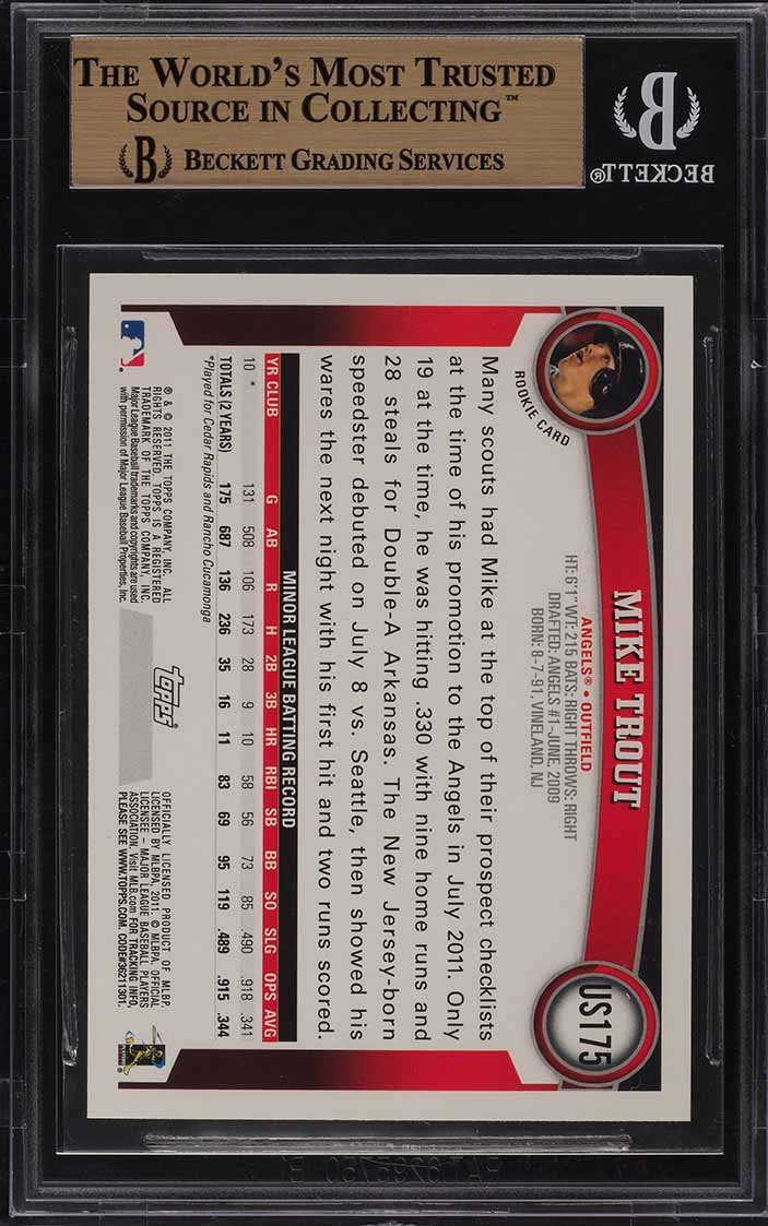 2011 Topps Update Target Red Border Mike Trout ROOKIE RC BGS 9.5 GEM MINT (PWCC) - Image 2