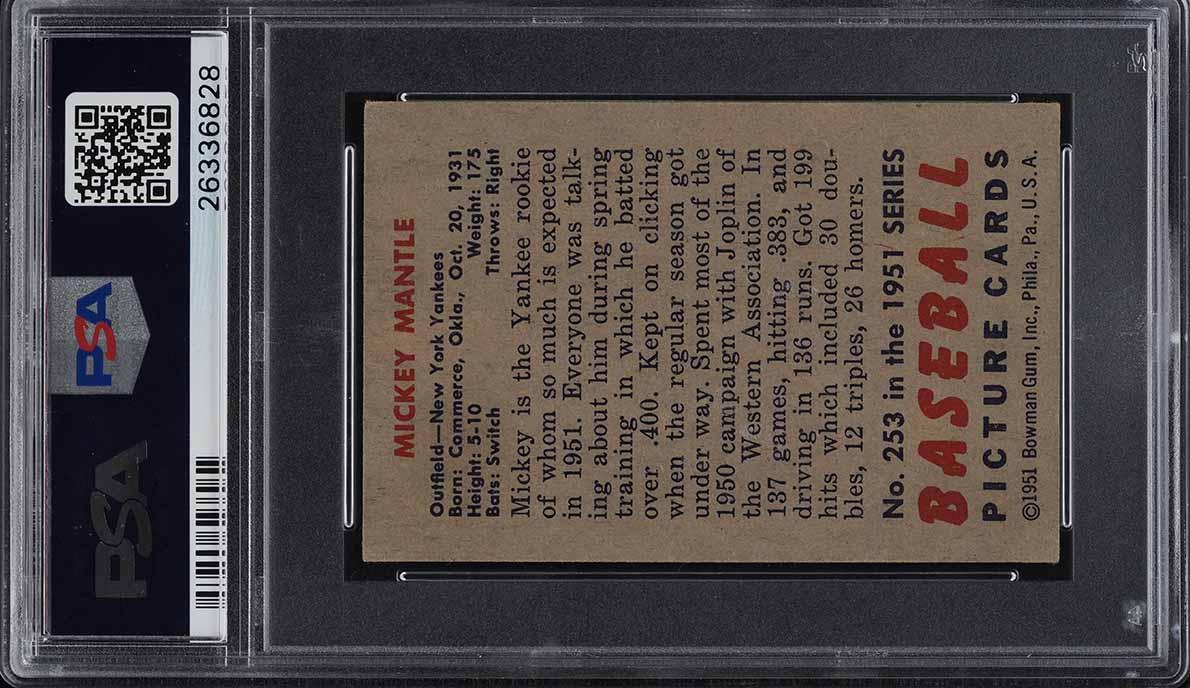 1951 Bowman Mickey Mantle ROOKIE RC #253 PSA 4.5 VGEX+ (PWCC) - Image 2
