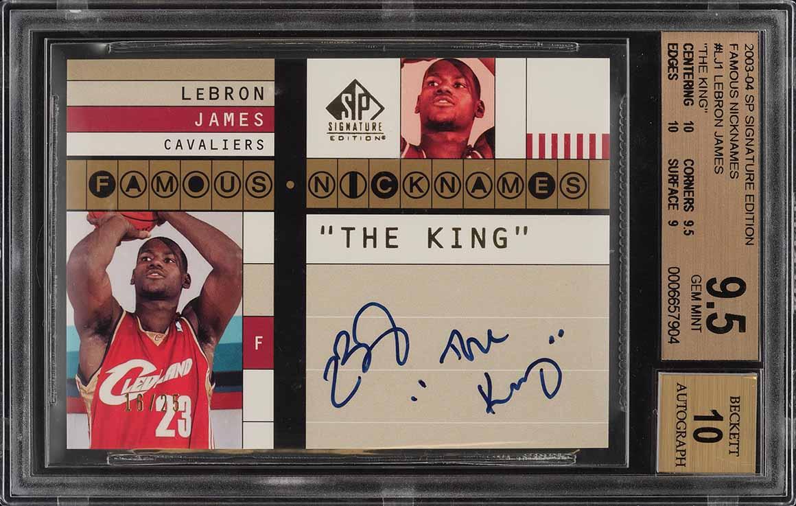 2003 SP Signature Famous Nicknames LeBron James ROOKIE AUTO /25 BGS 9.5 (PWCC) - Image 1