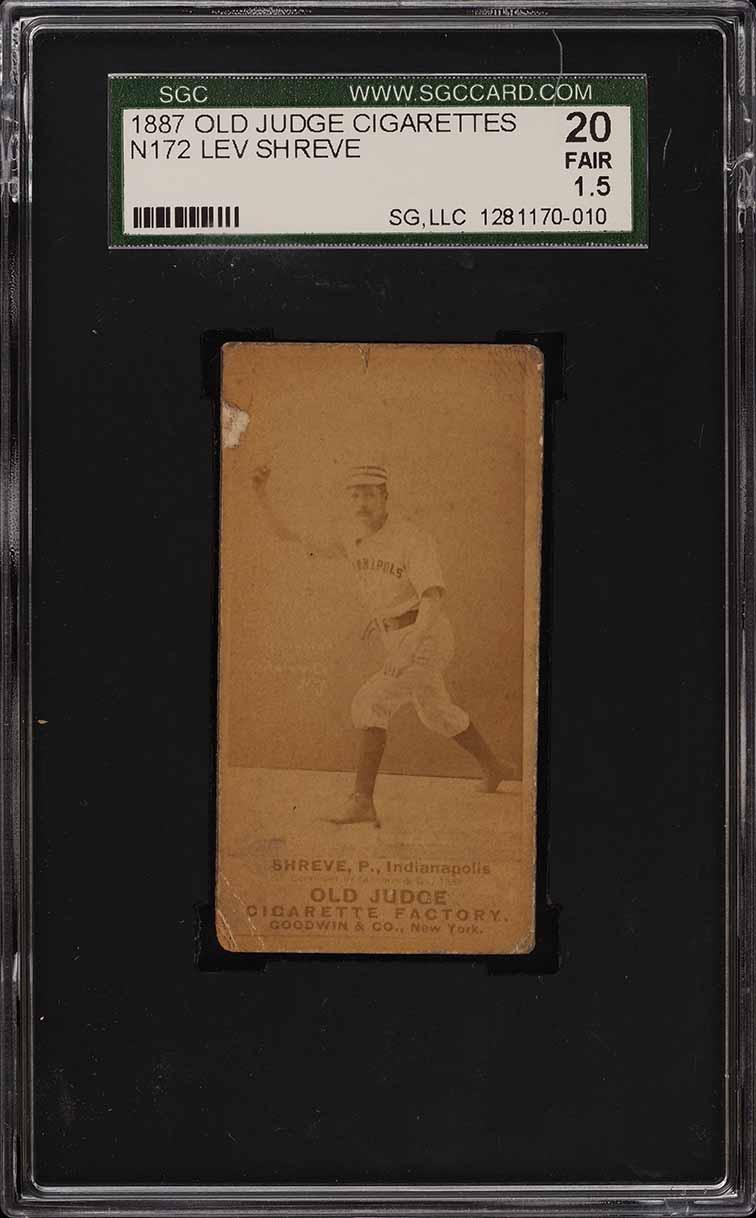 1887 N172 Old Judge Lev Shreve THROWING, LOOKING AT CAMERA SGC 1.5 FR (PWCC) - Image 1