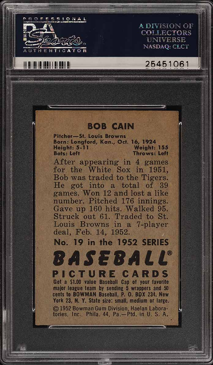 1952 Bowman SETBREAK Bob Cain #19 PSA 7 NRMT (PWCC) - Image 2