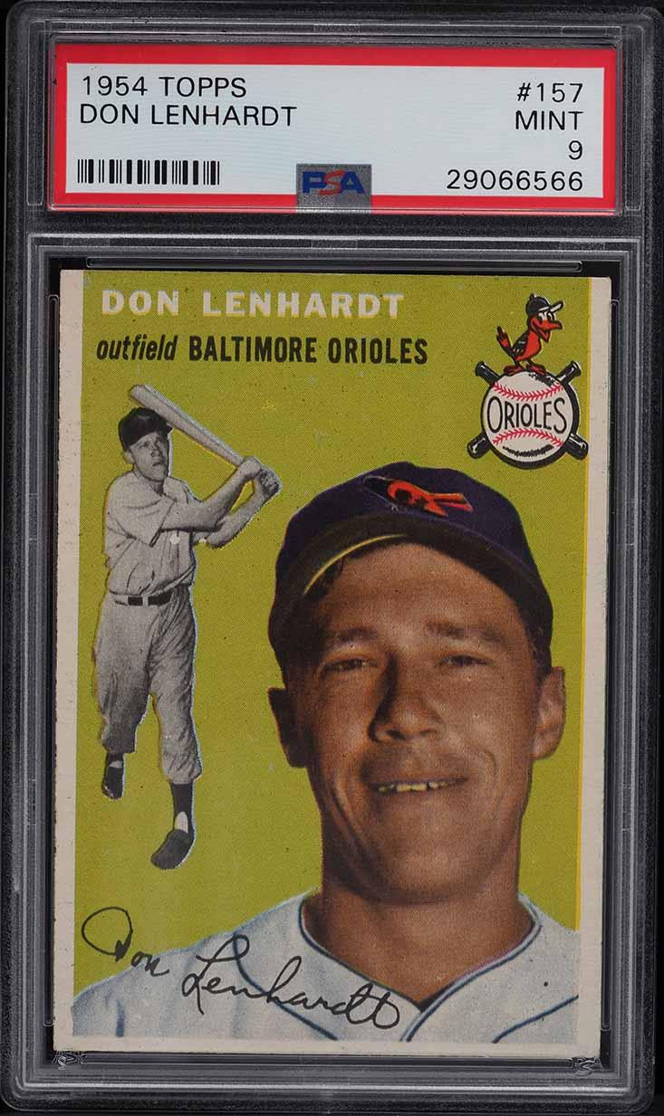 1954 Topps Don Lenhardt #157 PSA 9 MINT - Image 1