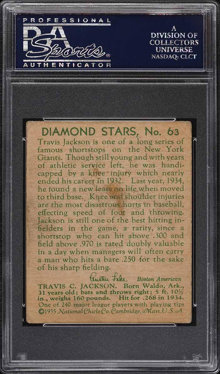 1935 Diamond Stars Stonewall Jackson #63 PSA 3 VG - Image 2
