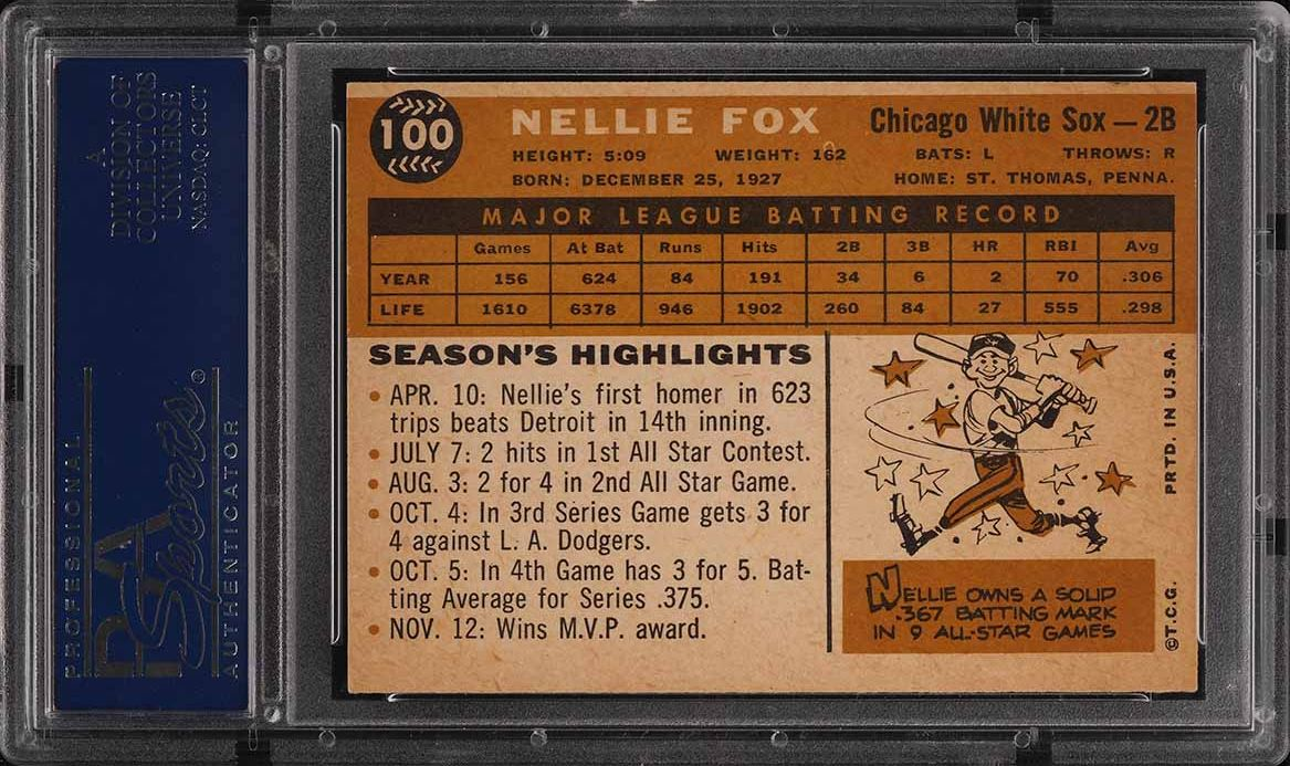 1960 Topps Nellie Fox #100 PSA 5 EX - Image 2