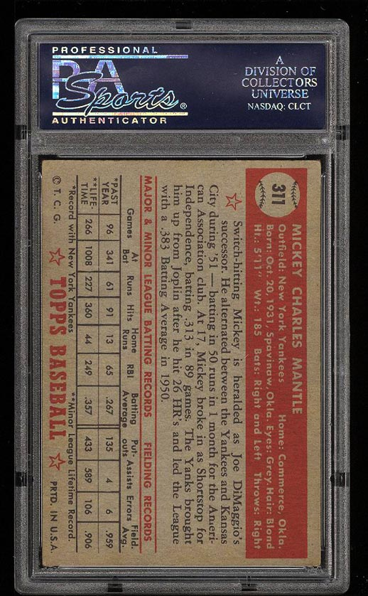 1952 Topps Mickey Mantle ROOKIE RC #311 PSA 5 EX (PWCC) - Image 2