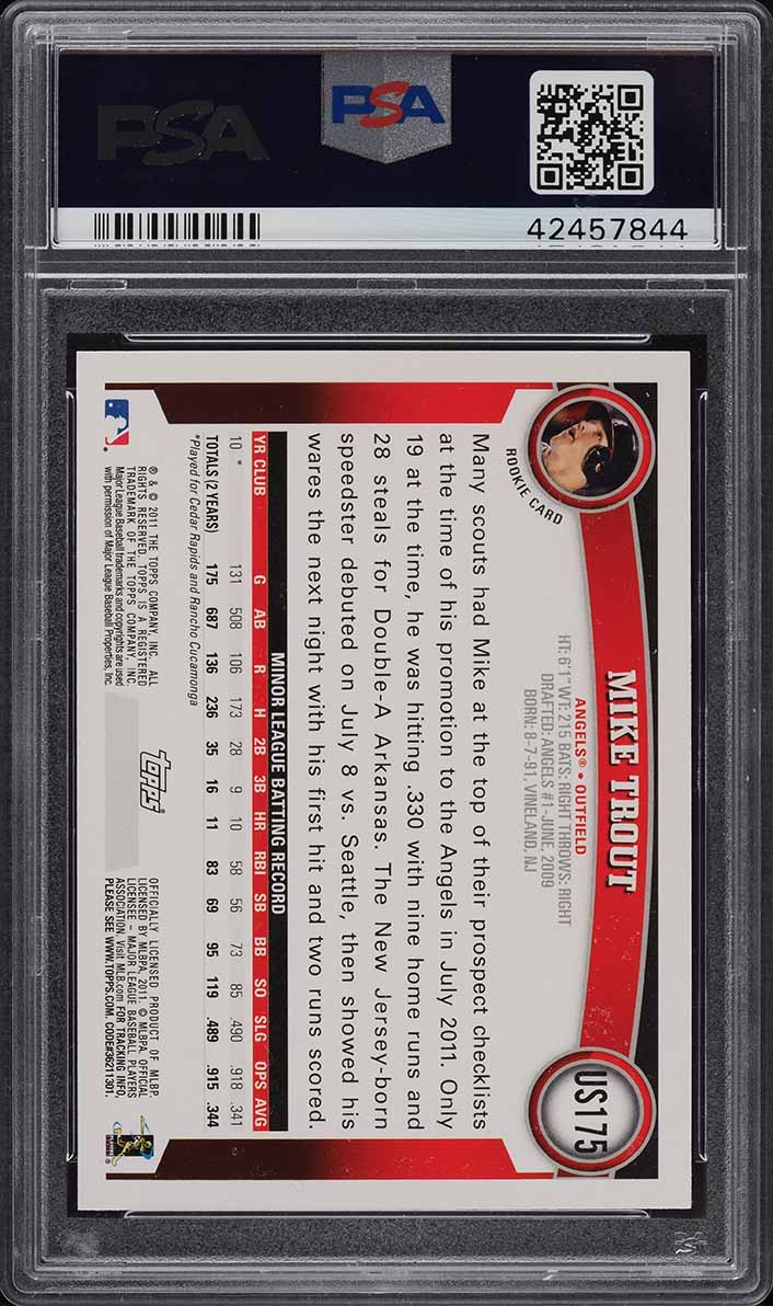 2011 Topps Update Diamond Mike Trout ROOKIE RC, PSA/DNA 10 AUTO PSA 10 (PWCC) - Image 2
