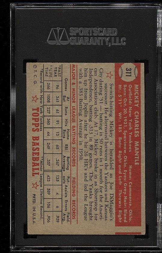 1952 Topps Mickey Mantle #311 SGC 3/40 VG (PWCC) - Image 2