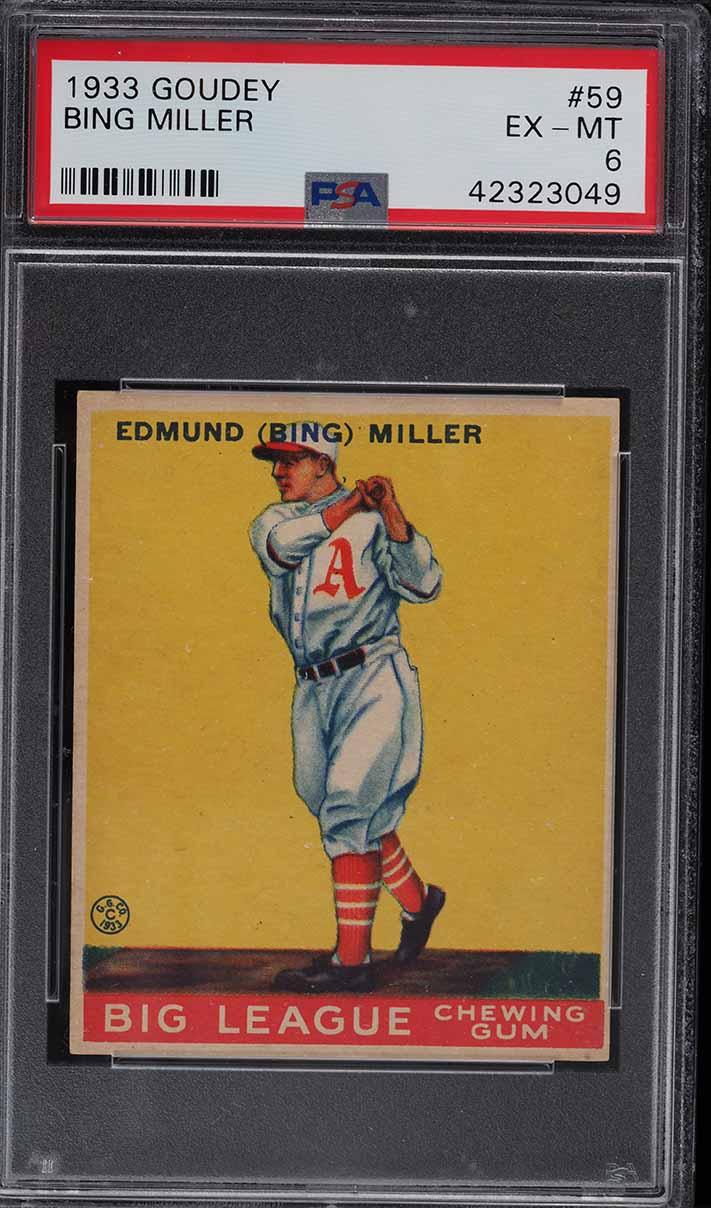 1933 Goudey Bing Miller #59 PSA 6 EXMT - Image 1