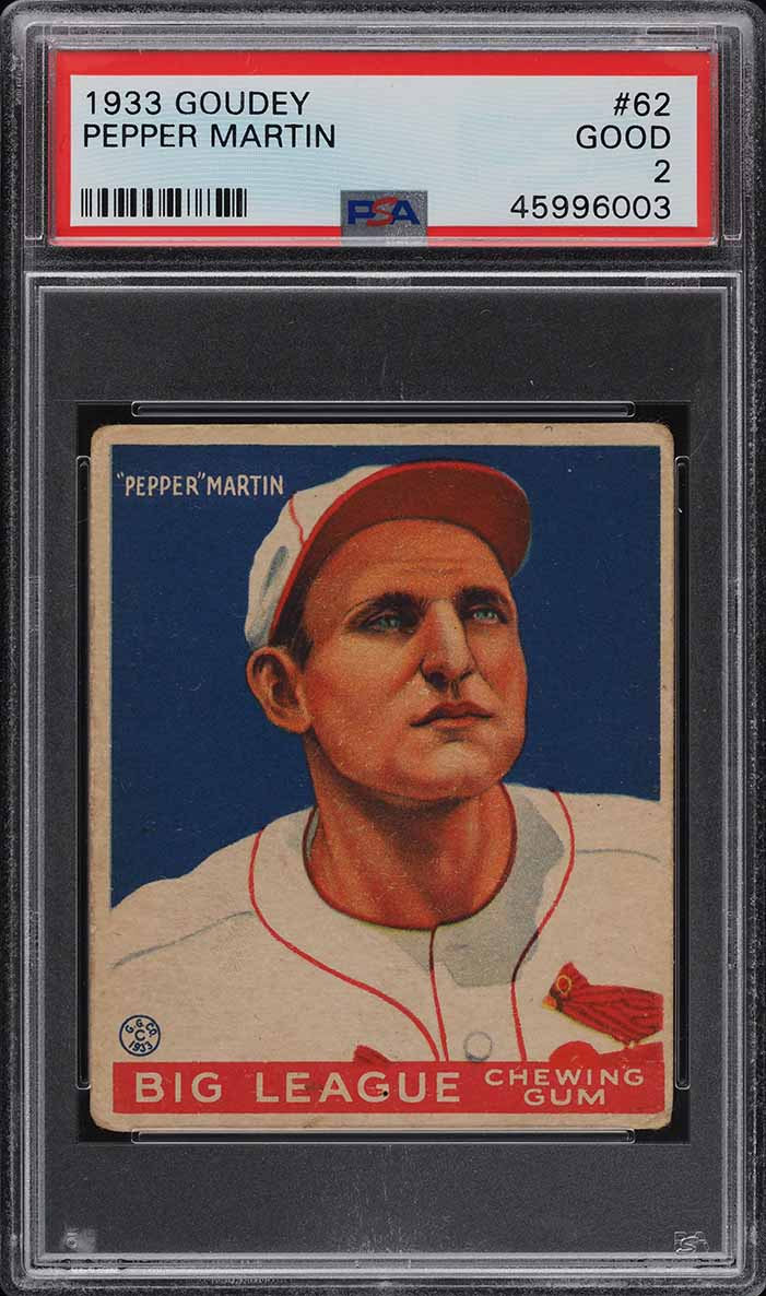 1933 Goudey Pepper Martin #62 PSA 2 GD (PWCC) - Image 1