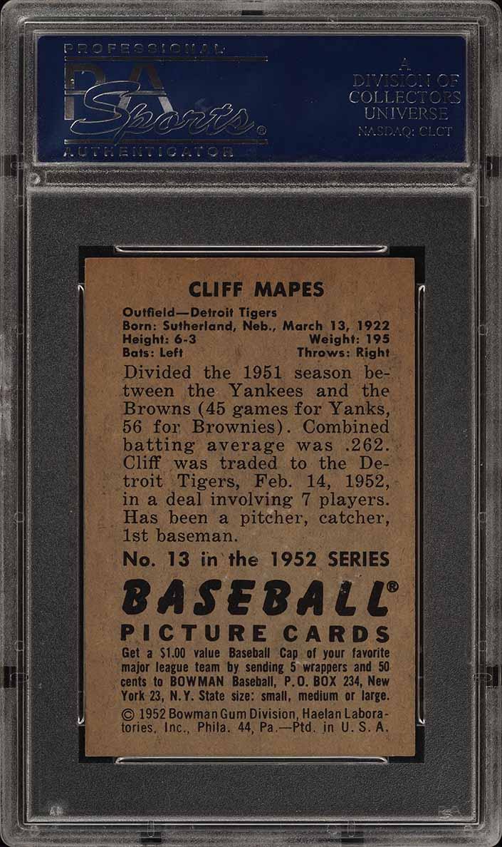 1952 Bowman SETBREAK Cliff Mapes #13 PSA 8 NM-MT (PWCC) - Image 2