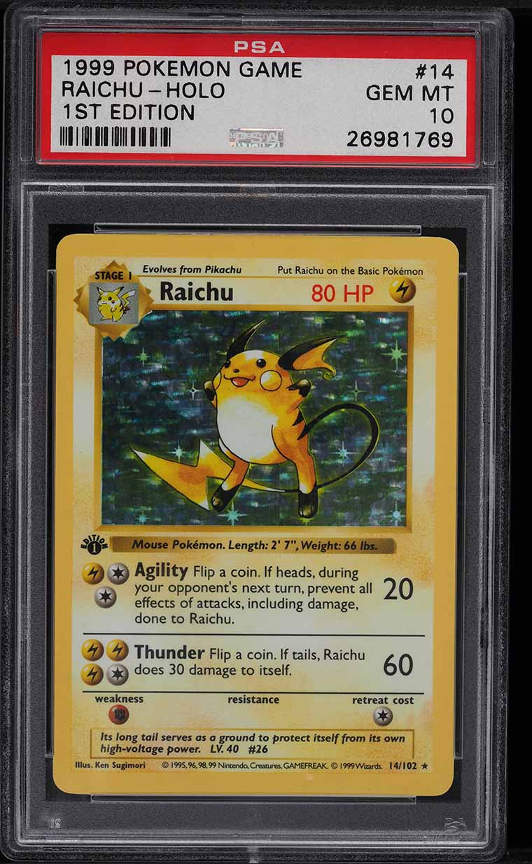 1999 Pokemon Base Set 1st Edition Shadowless Holo Raichu #14 PSA 10 GEM MINT - Image 1