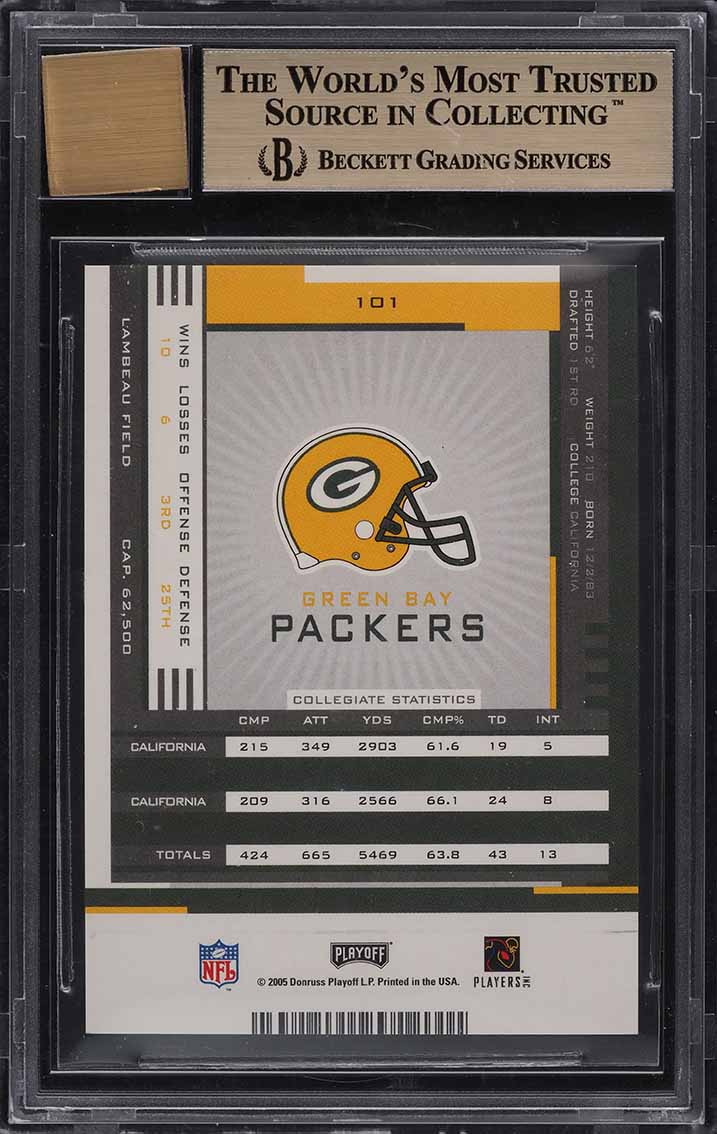 2005 Playoff Contenders Aaron Rodgers ROOKIE RC AUTO #101 BGS 9.5 GEM MINT - Image 2