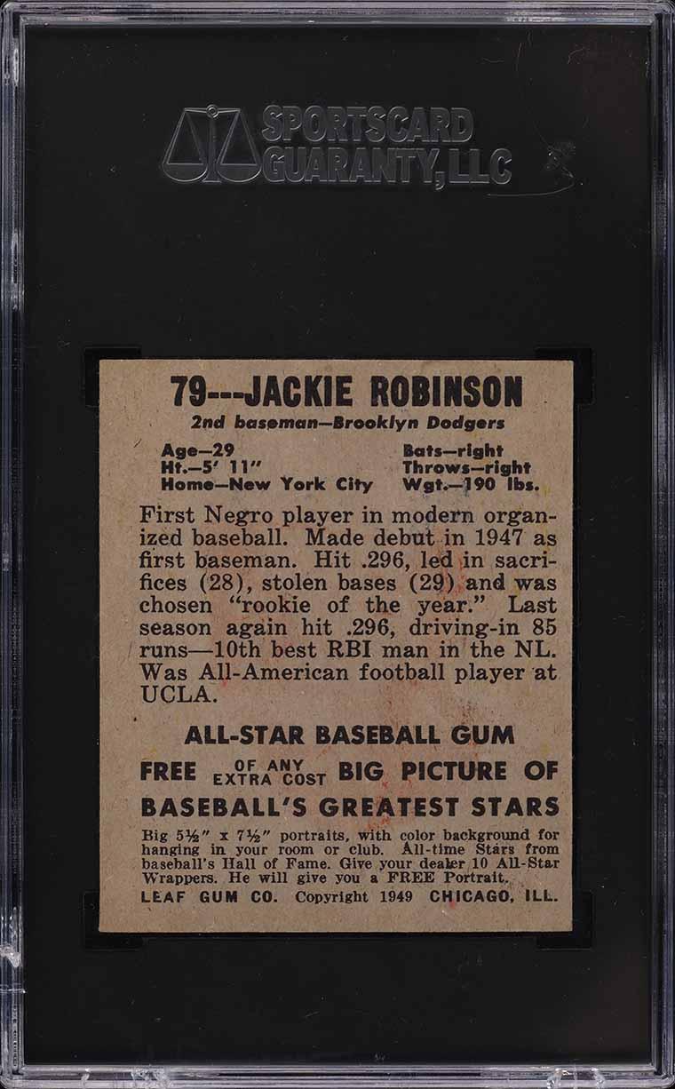 1948 Leaf Jackie Robinson ROOKIE RC #79 SGC 7.5 NRMT+ - Image 2