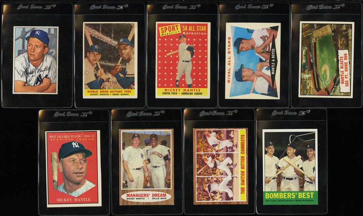Lot(9) 1952-63 Topps Bowman Mickey Mantle, VGEX to EXMT (PWCC) - Image 1