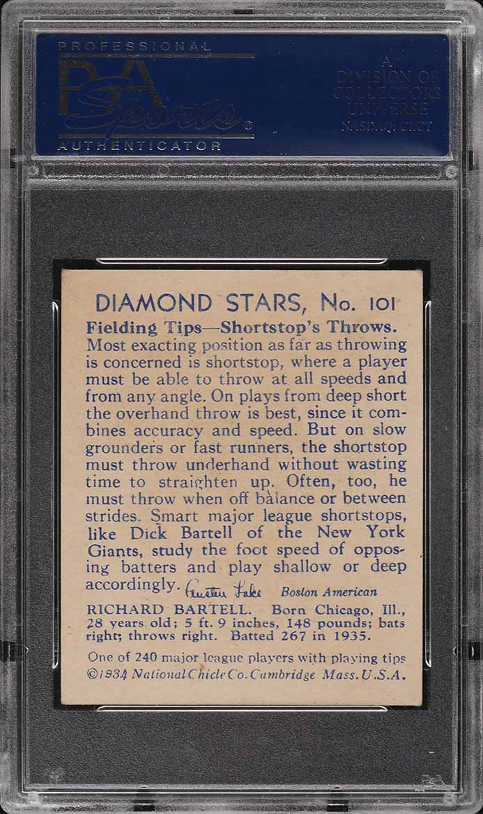 1935 Diamond Stars Dick Bartell #101 PSA 5 EX - Image 2