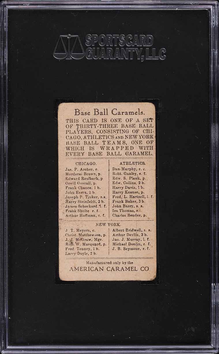 1909 E91-B American Caramel Mordecai Brown SGC 2 GD - Image 2