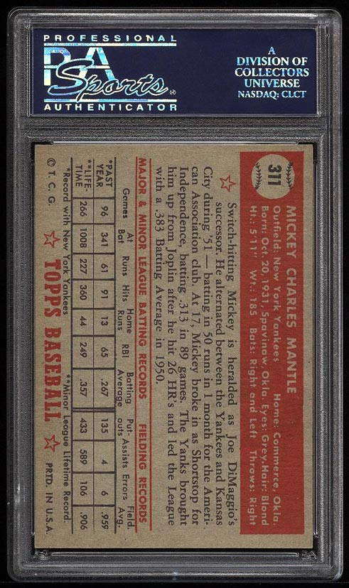 1952 Topps Mickey Mantle #311 PSA 8 NM-MT (PWCC) - Image 2