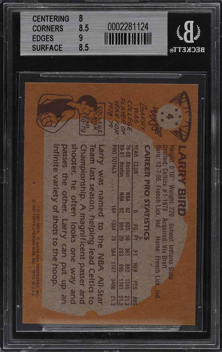 1981 Topps Basketball Larry Bird #4 BGS 8.5 NM-MT+ (PWCC) - Image 2