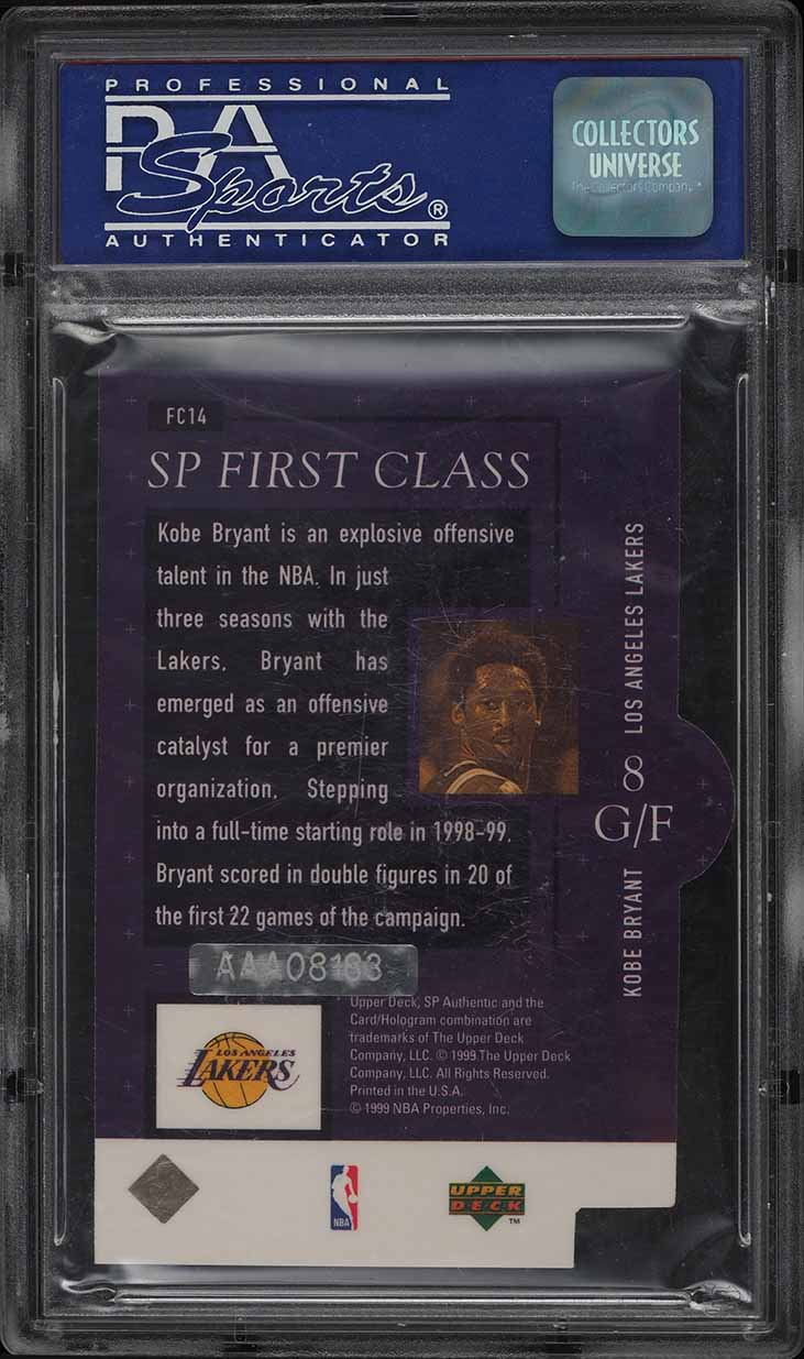 2000 SP Authentic Buyback '99 Kobe Bryant AUTO 1/1 #FC14 PSA 9 MINT - Image 2