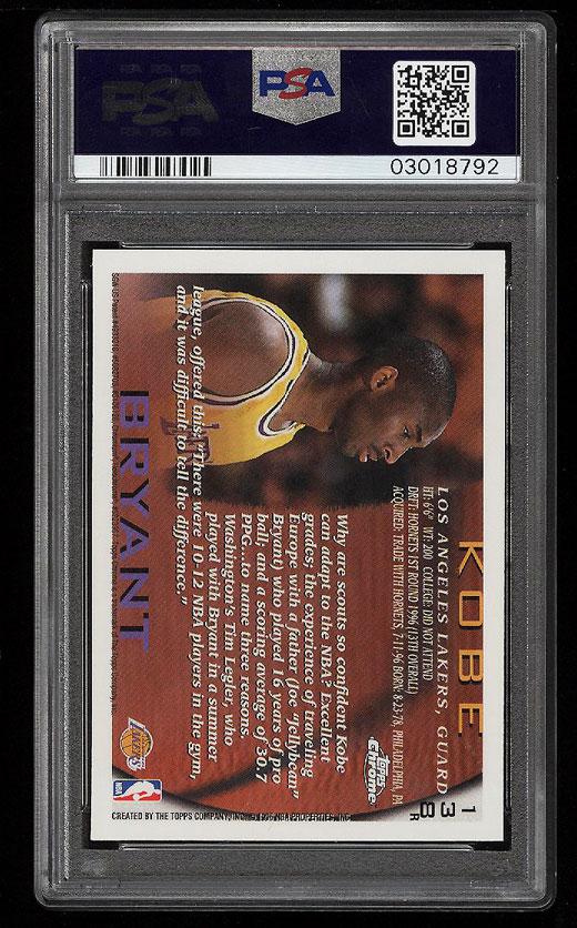 1996 Topps Chrome Refractor Kobe Bryant Rookie Rc 138 Psa