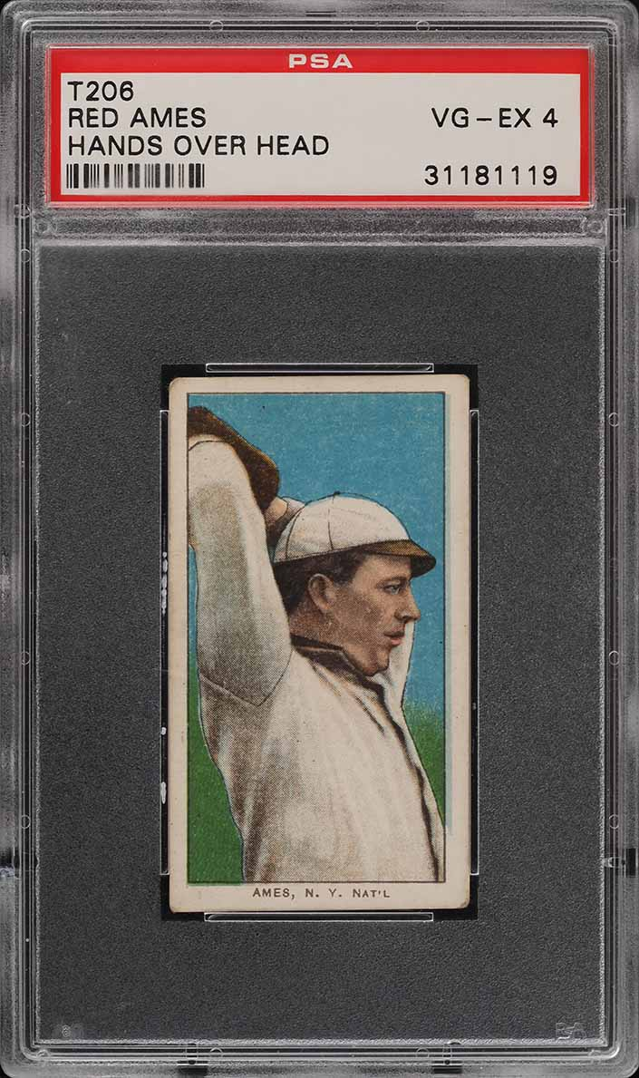 1909-11 T206 SETBREAK Red Ames HANDS OVER HEAD PSA 4 VGEX (PWCC) - Image 1