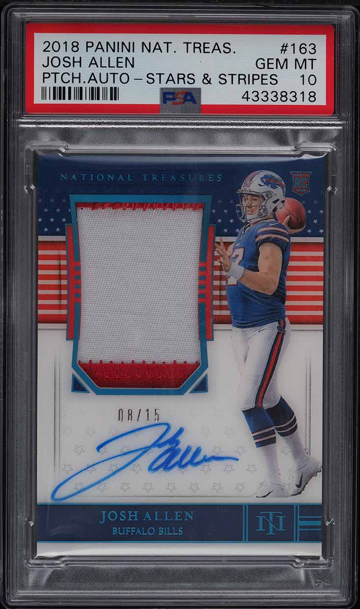 2018 National Treasures Stars & Stripes Josh Allen ROOKIE PATCH AUTO /15 PSA 10 - Image 1