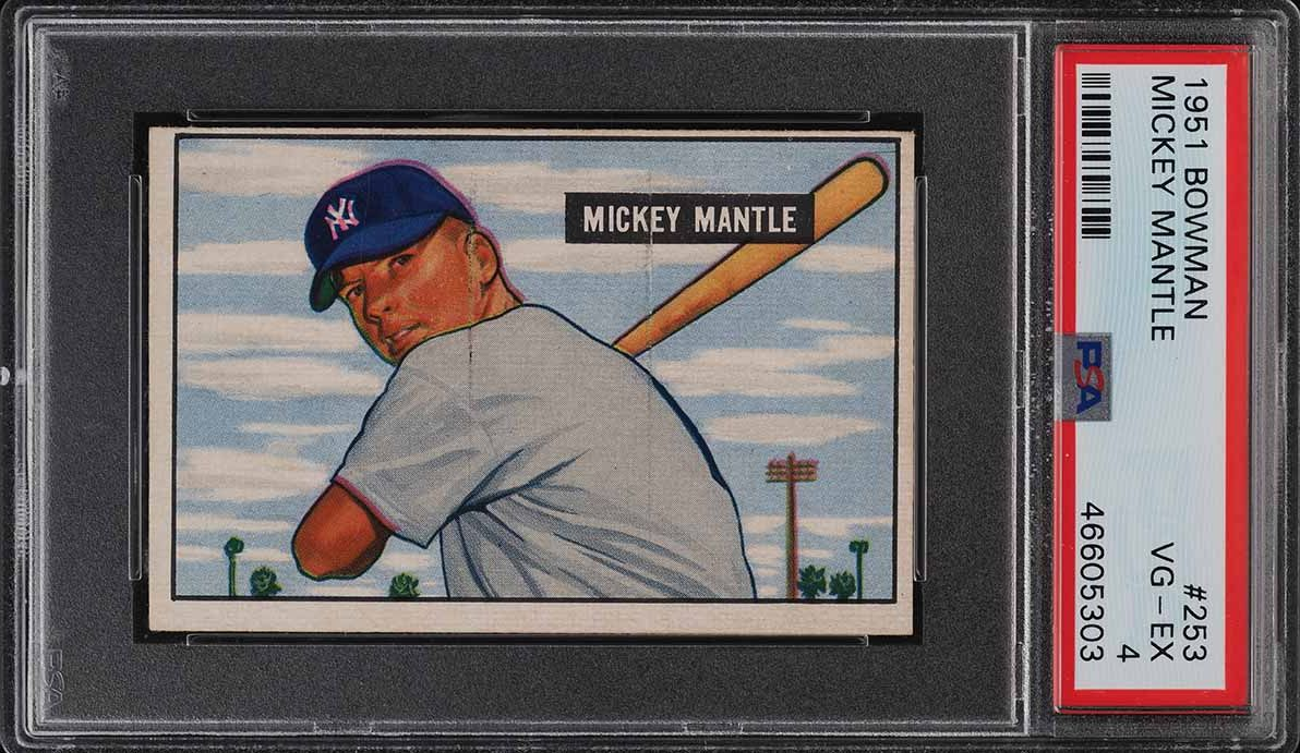 1951 Bowman Mickey Mantle ROOKIE RC #253 PSA 4 VGEX - Image 1