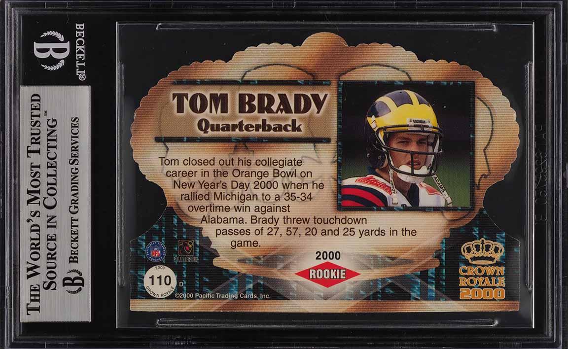 2000 Pacific Crown Royale Die-Cut Tom Brady ROOKIE RC /499 #110 BGS 8.5 (PWCC) - Image 2