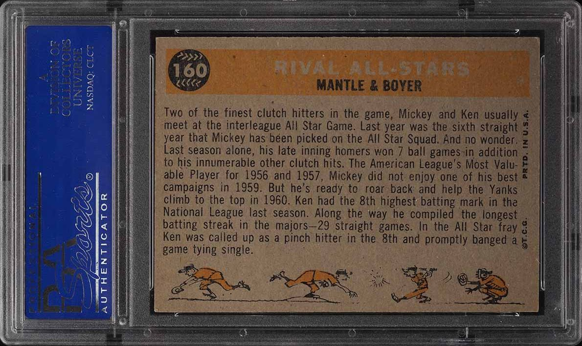 1960 Topps Mickey Mantle & Ken Boyer RIVAL ALL-STARS #160 PSA 6 EXMT - Image 2