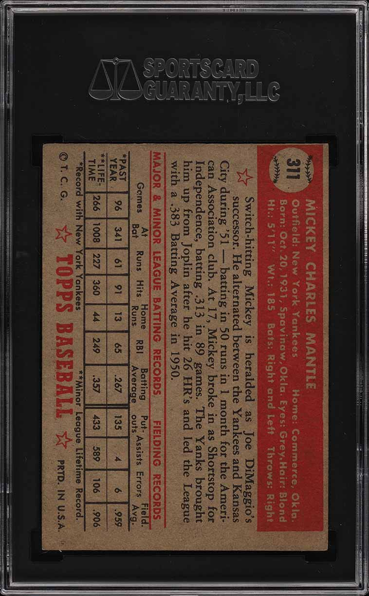 1952 Topps Mickey Mantle #311 SGC Auth, PSA Min Size (PWCC) - Image 2