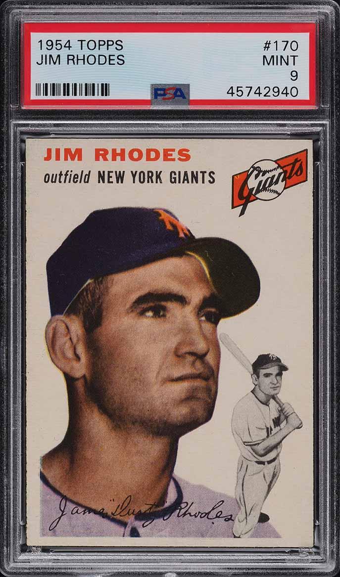 1954 Topps Jim Rhodes #170 PSA 9 MINT - Image 1