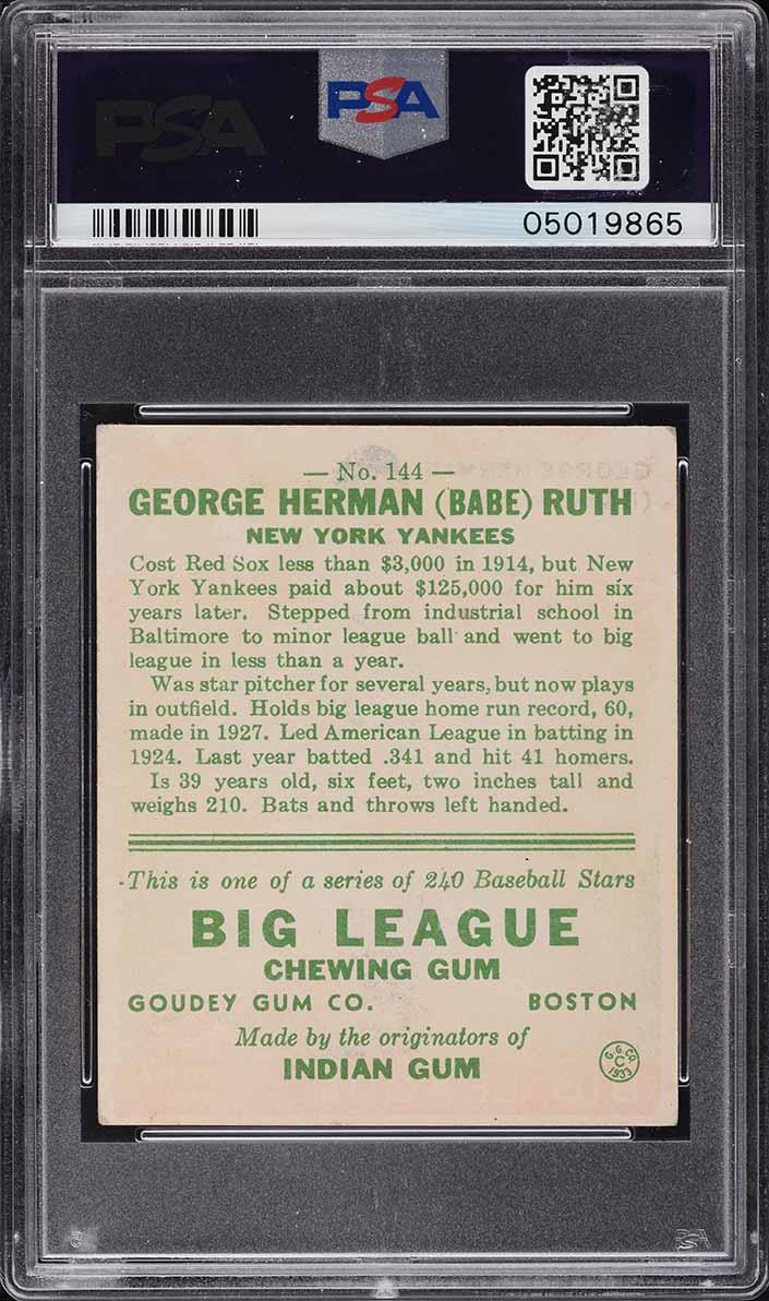 1933 Goudey Babe Ruth #144 PSA 6 EXMT - Image 2