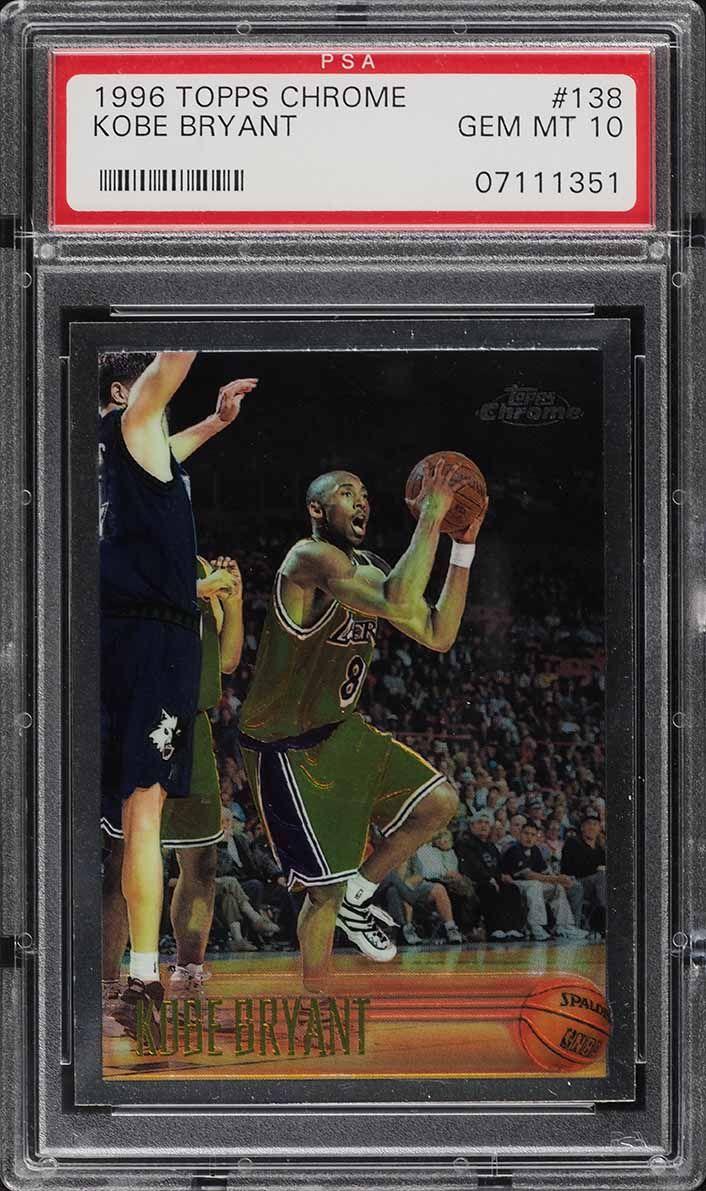 1996 Topps Chrome Kobe Bryant ROOKIE RC #138 PSA 10 GEM MINT - Image 1