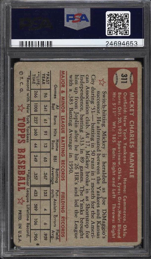 1952 Topps Mickey Mantle #311 PSA 1.5 FR (PWCC) - Image 2