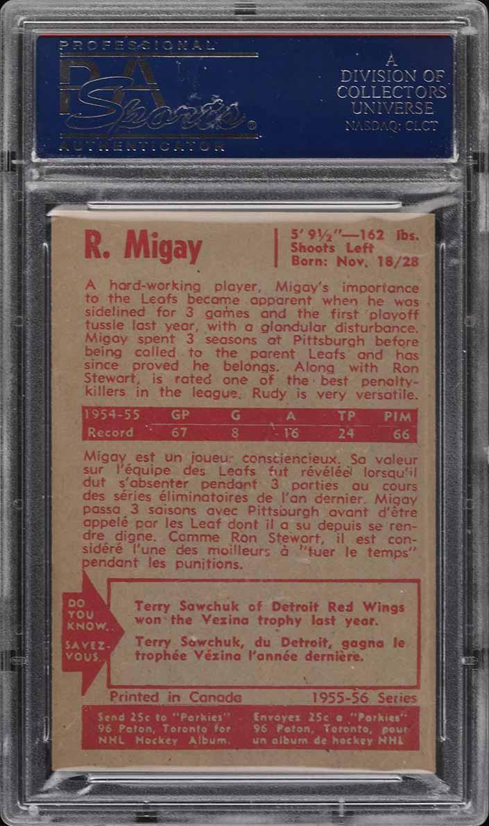 1955 Parkhurst Rudy Migay #12 PSA 6 EXMT - Image 2