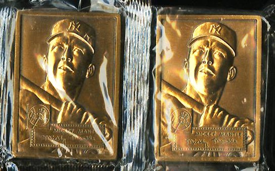 Lot(2) 1952 Topps Commemorative Sealed Bronze Medallions Mickey Mantle (PWCC) - Image 1
