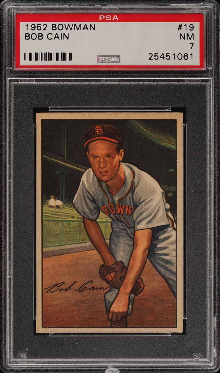 1952 Bowman SETBREAK Bob Cain #19 PSA 7 NRMT (PWCC) - Image 1