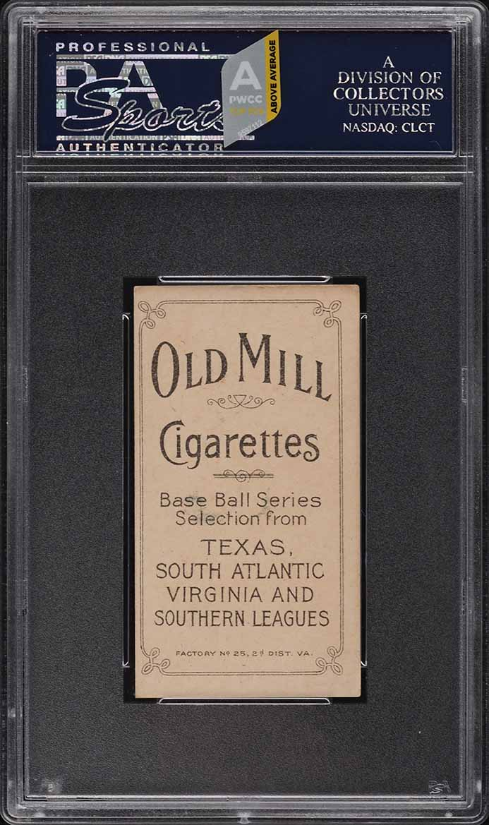 1909-11 T206 SETBREAK William Otey SOUTHERN LEAGUER, OLD MILL PSA 6 (PWCC-A) - Image 2