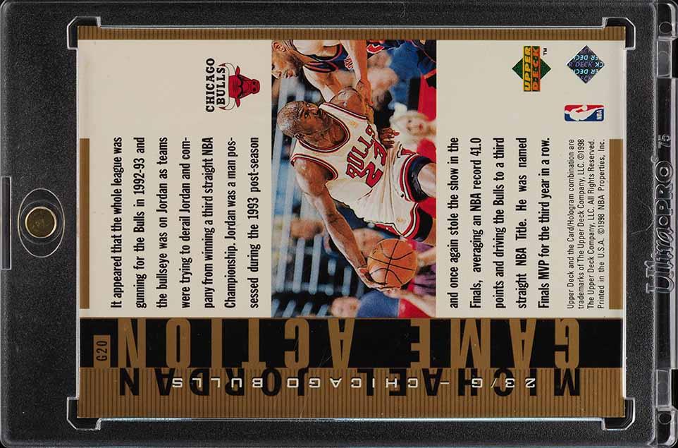 1998 Upper Deck MJ Living Legends Action Gold Michael Jordan 22/23 #G20 (PWCC) - Image 2